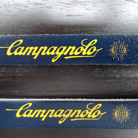 Vintage style Campagnolo Mondo logo leather toe straps and buttons