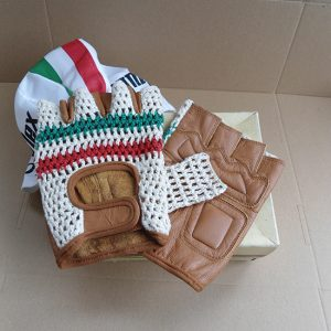 Vintage leather cycling gloves