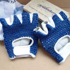 Blue vintage leather cycling gloves Gios