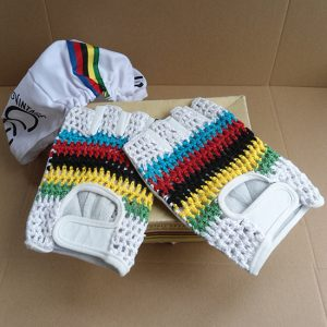 Vintage leather gloves world champion stripes